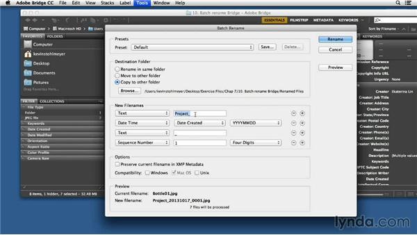 Batch renaming files using Adobe Bridge: Processing Product Photos with Photoshop
