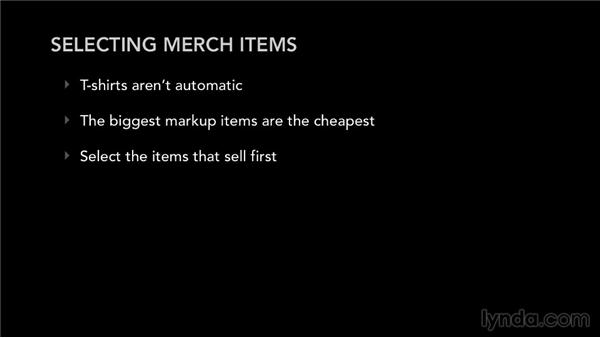 Selecting merch items: Selling Music Merchandise