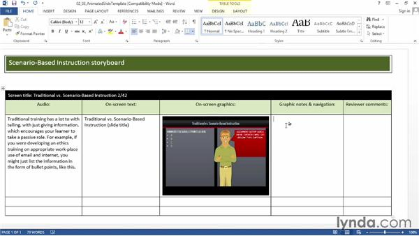 Storyboarding an animated-content slide: Instructional Design Essentials: Storyboarding