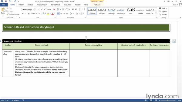 Storyboarding scenario feedback: Instructional Design Essentials: Storyboarding