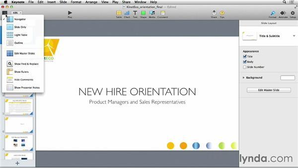 Customizing the Keynote user interface: Keynote 6 Essential Training