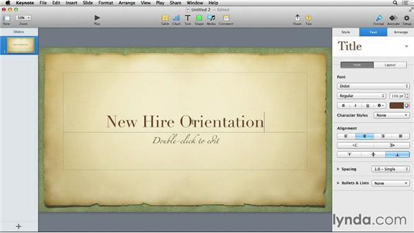 Creating a new presentation: Keynote 6 Essential Training