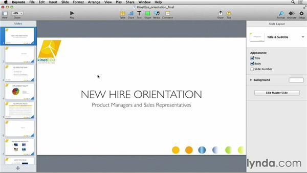 Working with Keynote themes: Keynote 6 Essential Training