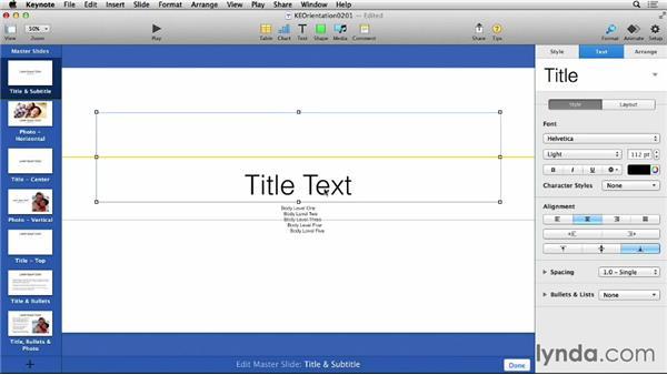 Working with master slides: Keynote 6 Essential Training
