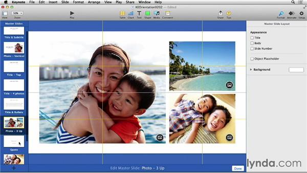 Editing slides and master slides in Keynote: Keynote 6 Essential Training