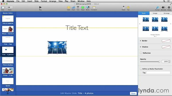 Working with media placeholders: Keynote 6 Essential Training