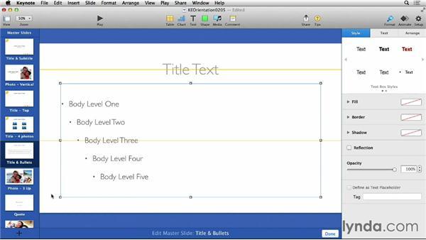 Editing master slides to change themes: Keynote 6 Essential Training