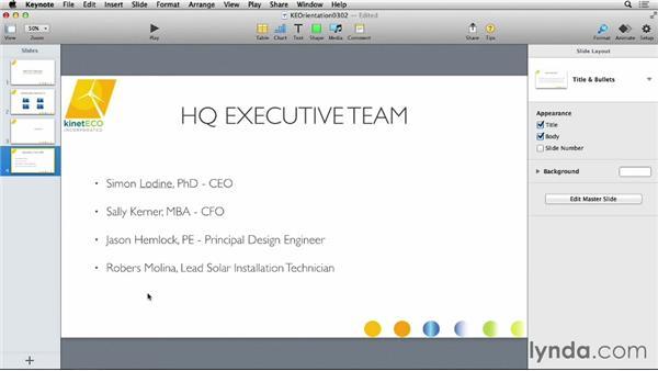 Formatting text on a slide: Keynote 6 Essential Training
