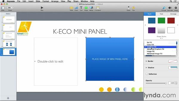 Working with built-in shapes: Keynote 6 Essential Training