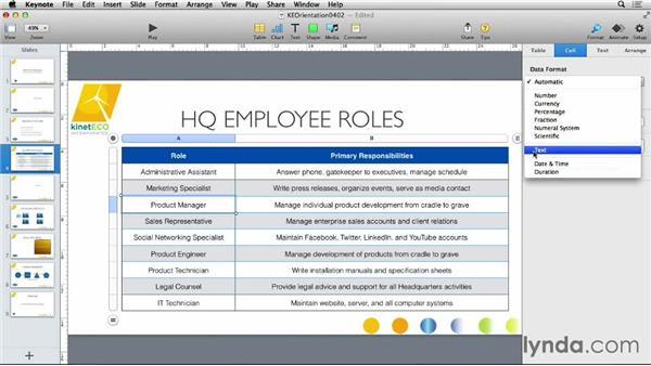 Formatting tables: Keynote 6 Essential Training