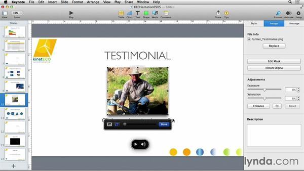 Applying image adjustments: Keynote 6 Essential Training