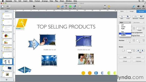 Aligning objects on a slide: Keynote 6 Essential Training