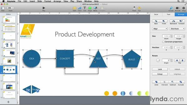 Distributing objects on a slide: Keynote 6 Essential Training