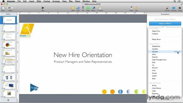 Applying slide transitions: Keynote 6 Essential Training
