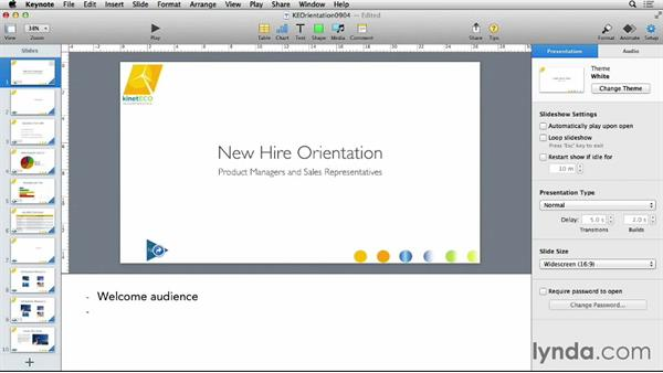 Adding and using slide notes: Keynote 6 Essential Training