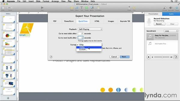 Exporting to a movie file: Keynote 6 Essential Training