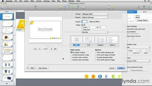 Printing slides and notes: Keynote 6 Essential Training