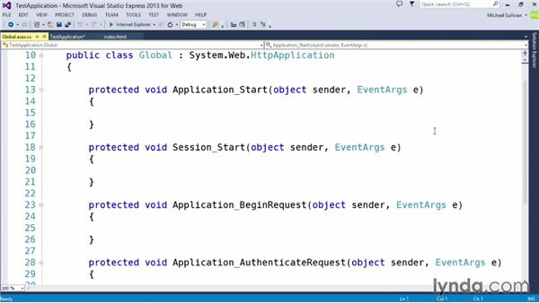 Running and debugging a basic web application: Up and Running with ASP.NET