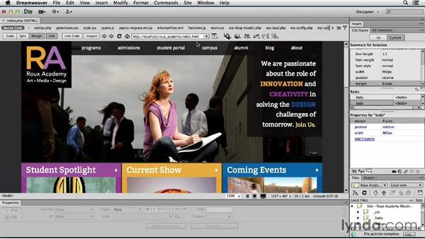 Following links: Dreamweaver CS6 and WordPress 3.8: Core Concepts