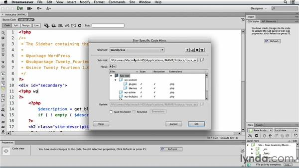 Enabling site-specific code hinting: Dreamweaver CS6 and WordPress 3.8: Core Concepts