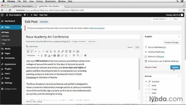 Editing blog posts: Dreamweaver CS6 and WordPress 3.8: Core Concepts