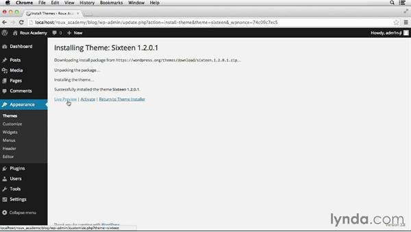 Activating a theme: Dreamweaver CS6 and WordPress 3.8: Core Concepts