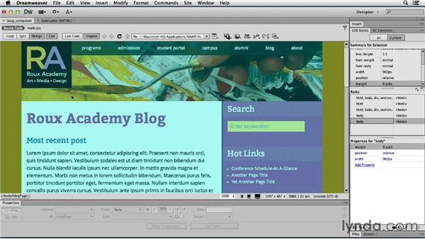 Updating page structure and the background: Dreamweaver CS6 and WordPress 3.8: Core Concepts