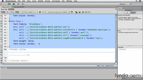 Working with web fonts: Dreamweaver CS6 and WordPress 3.8: Core Concepts