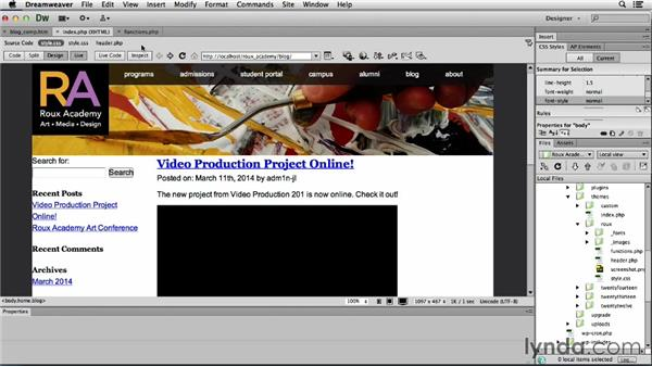 Linking your navigation: Dreamweaver CS6 and WordPress 3.8: Core Concepts