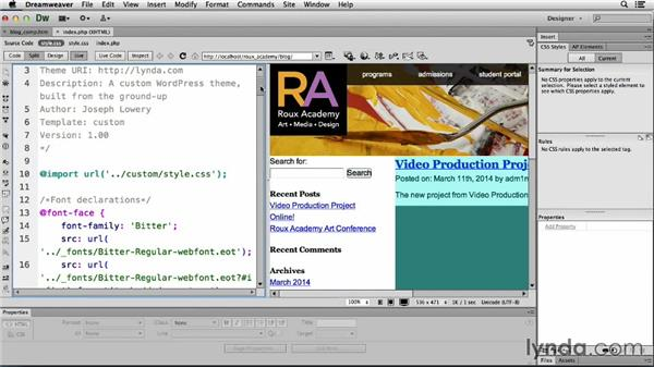 Setting up content columns: Dreamweaver CS6 and WordPress 3.8: Core Concepts