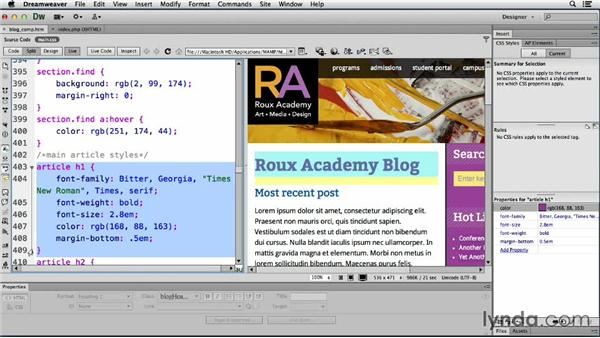 Changing the main content: Dreamweaver CS6 and WordPress 3.8: Core Concepts