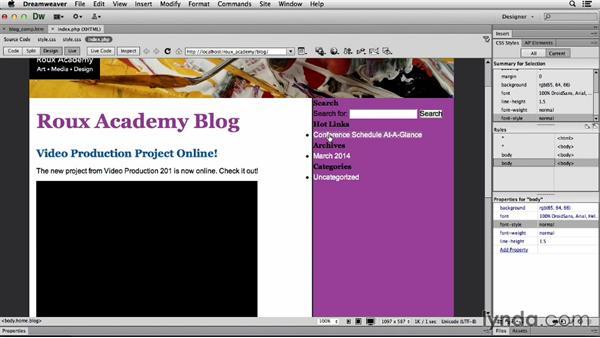 Customizing the sidebar: Dreamweaver CS6 and WordPress 3.8: Core Concepts
