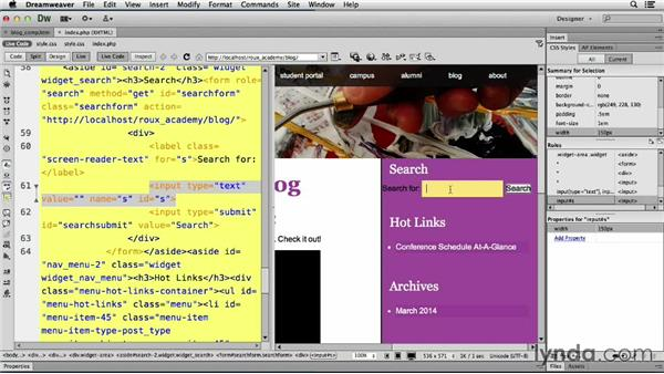 Styling search: Dreamweaver CS6 and WordPress 3.8: Core Concepts