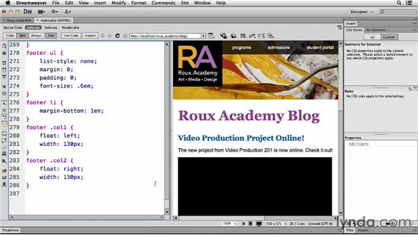 Setting up media queries: Dreamweaver CS6 and WordPress 3.8: Core Concepts