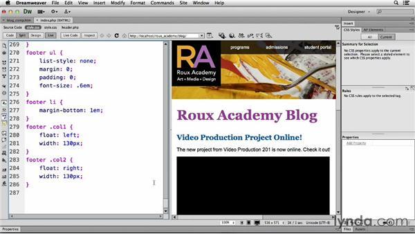 Setting up media queries: Dreamweaver CS6 and WordPress 3.8: Core Concepts