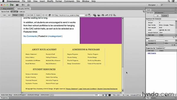 Customizing for tablets: Dreamweaver CS6 and WordPress 3.8: Core Concepts