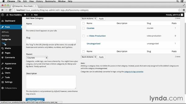 Working with categories and posts: Dreamweaver CS6 and WordPress 3.8: Core Concepts