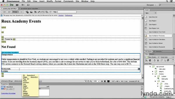 Adding Spry accordion panels: Dreamweaver CS6 and WordPress 3.8: Core Concepts