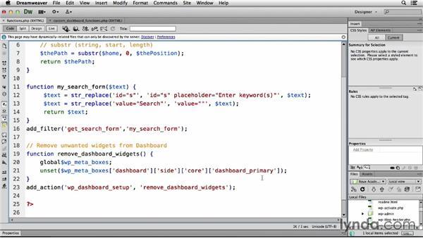 Customizing the Dashboard (PP): Dreamweaver CS6 and WordPress 3.8: Core Concepts