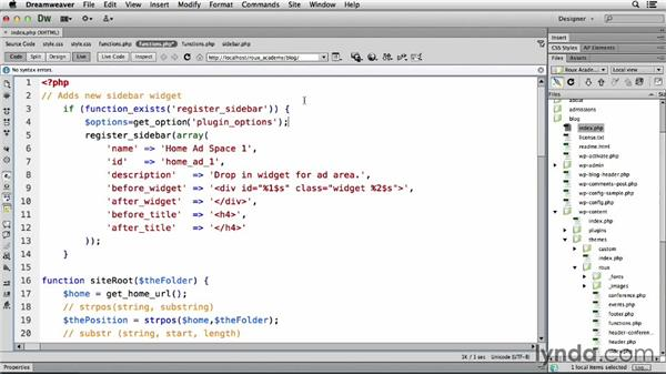 Including administration functionality: Dreamweaver CS6 and WordPress 3.8: Core Concepts