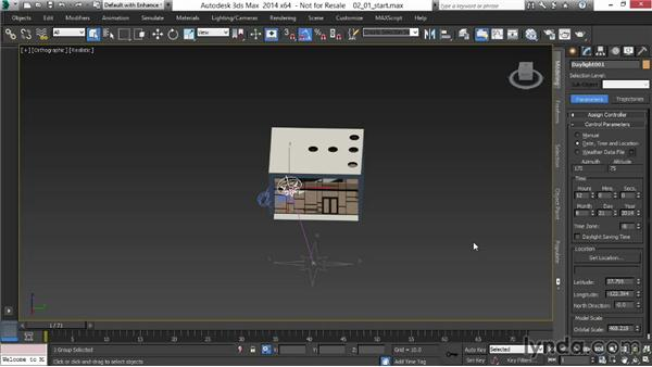 Creating the Daylight system and positioning the sun: Rendering Interiors in 3ds Max