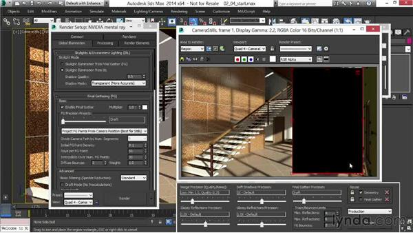 Using global illumination and Final Gather to change the lighting: Rendering Interiors in 3ds Max