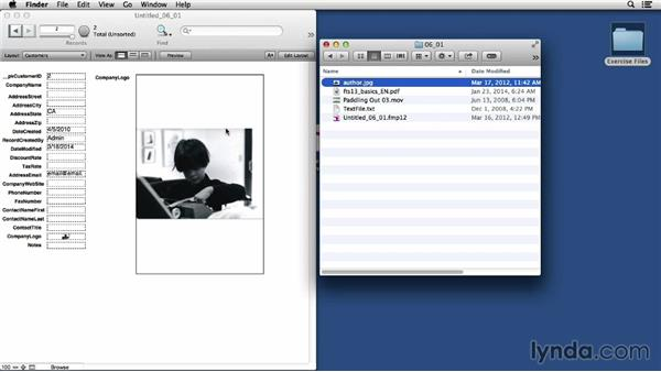Using container fields in your database: FileMaker Pro 13 Essential Training
