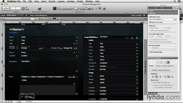 Working with themes in new layouts: FileMaker Pro 13 Essential Training
