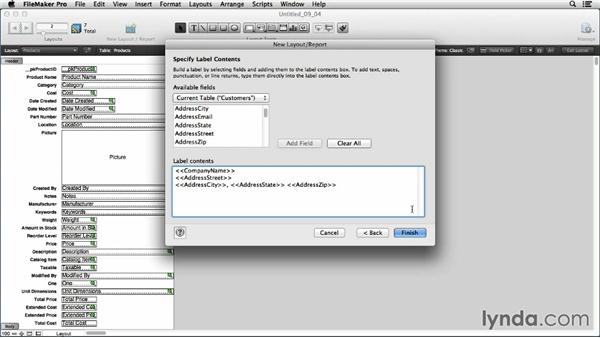 Using the New Layout/Report assistant to create labels and envelopes: FileMaker Pro 13 Essential Training