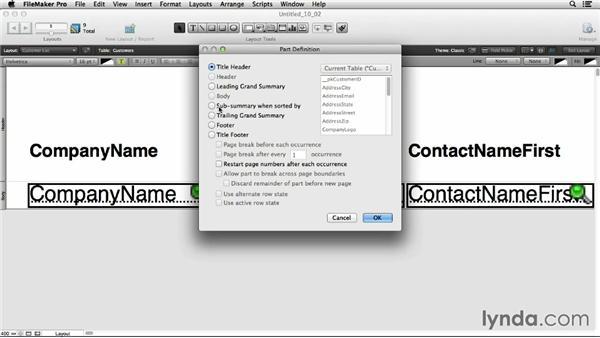 Understanding layout parts: FileMaker Pro 13 Essential Training