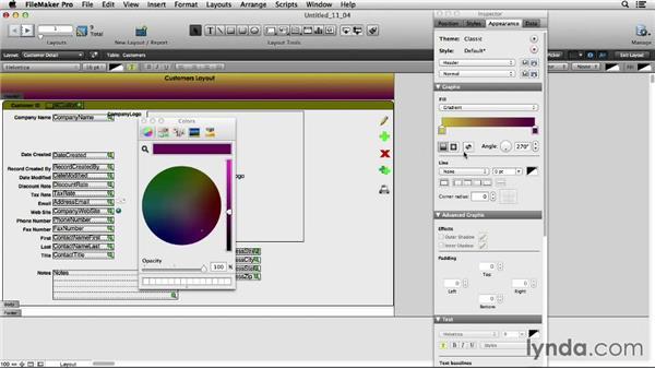 Applying gradients: FileMaker Pro 13 Essential Training