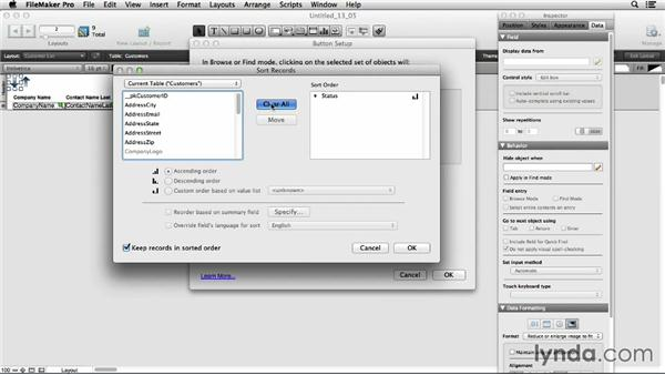 Sorting using buttons: FileMaker Pro 13 Essential Training