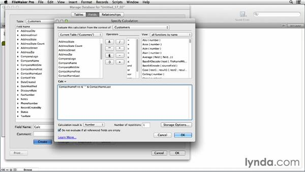 Exploring the Calculation dialog: FileMaker Pro 13 Essential Training