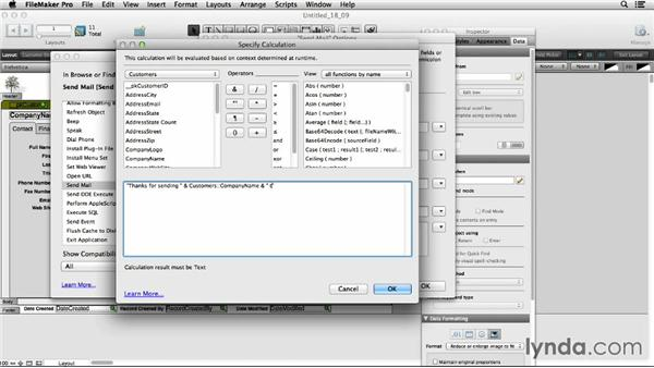 Reviewing the Send Mail script option: FileMaker Pro 13 Essential Training